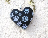 Heart Necklace, Paw Prints Necklace, Fused Glass Jewelry, Paw Heart Pendant, Dog Paws, Cat Paws, Silver Black Necklace, 101516p108