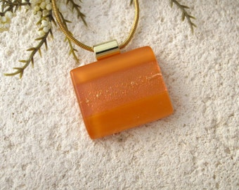 Caramel Glass Necklace, Dichroic Glass Jewelry, Fused Glass Jewelry, Fused Glass Pendant, Gold Plated Necklace, Orange Necklace, 061516p101