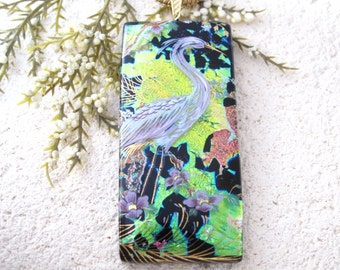 Egret Necklace, Exotic Bird, Bird Pendant, Fused Glass Jewelry, Dichroic Pendant, Dichroic Jewelry, Gold Necklace, Bird Jewelry, 090316p103