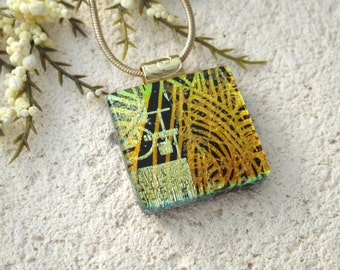Golden & Black, Dichroic Glass Necklace, Dichroic Jewelry, Glass Jewelry, Fused Glass Jewelry, Gold Necklace, Glass Pendant,  102315p105