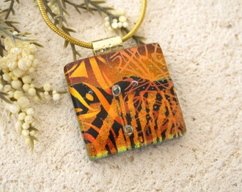 Petite Copper Red Necklace, Dichroic Necklace, Fused Glass Jewelry, Dichroic Glass Necklace, Fused Glass Jewelry, Gold Necklace 010916p116