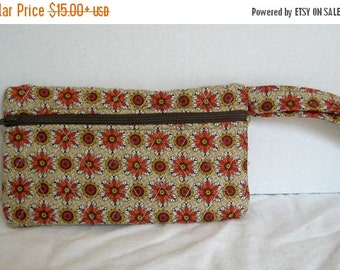 40% Off Fall Quilted Wristlet - Brown Orange Floral Print - Wrist Style Purse - Wallet with Strap - Cellphone Purse