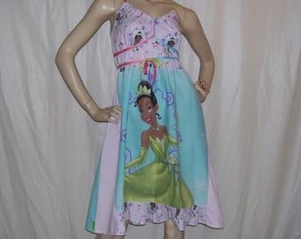 Tiana OOAK Dress Disney Princess and Frog Sundress Geek New Orleans Sundress S M L XL Adult Cruise Resort Pink Green Blue Maternity Party