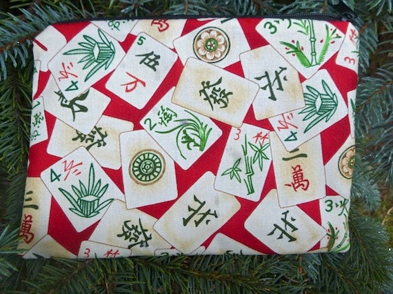 Mahjong tiles zippered bag, makeup case, accessory bag, pick from 5 fabrics, The Scooter