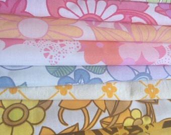 Secret fabric scrap pack x 10 pieces of vintage retro sheets fabric