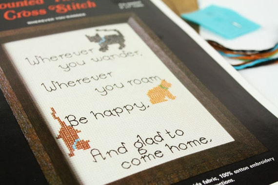 vintage poem cat counted cross stitch pattern