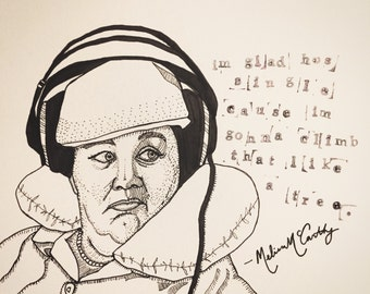 Melissa McCarthy 9x12 original ink line drawing with Bridesmaids Quote
