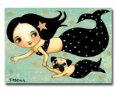 Mermaid and Pug Painting ORIGINAL pug dog swimming with mermaid mom acrylic painting on canvas by artist TASCHA
