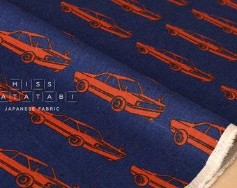 Japanese Fabric Kokka Echino Nico - retro car - blue, red - 50cm
