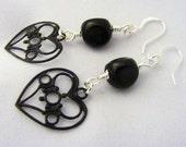 Heart Earrings Black Earrings Hand Painted Earrings Brass Earrings Black Hearts Earrings Gift Idea for Girlfriend Valentines Heart Jewelry