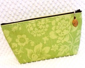 Extra Large Cosmetic Pouch - Larger Zipper Pouch - Flat Bottom Make Up Bag - Toiletry Pouch - Overnight Pouch - Cottage Green Floral Fabric