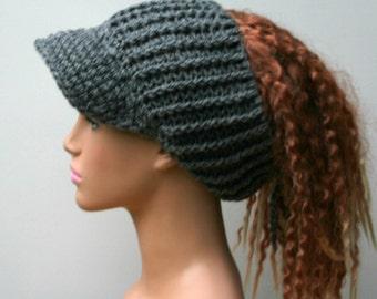Heather gray Ponytail hat, Visor Dread Tube cap, billed dread tube, dread band, open back beanie, dread hat with bill, visor dread wrap hat