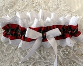 Classic Red Tartan Plaid  and White Eyelet Garter-Valentine-Outlander-Prom-Scottish Highlander