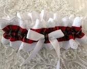 Classic Red Tartan Plaid  and White Eyelet Garter-Valentine-Outlander-Prom-Scottish Highlander