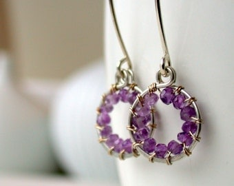 Petite Wire Wrapped Amethyst Hoop Earrings.