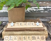 MERRY CHRISTMAS Vintage Scrabble Sign