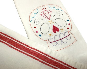 Sugar Skull Towel, Day of the Dead, Sugar Skull, Mexican Holiday, Mexican Tea Towel, Mexican Embroidery, Cotton Tea Towel, Mexican Folk Art