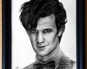 Doctor Who - Original Drawing - Matt Smith - Tardis Matt Smith Dr Who Police Box Time Travel Whovian Pop Art Sci Fi Sonic Screwdriver