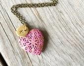 Girls Locket, Pink Locket, Personalized Locket for Girls, Pink Necklace, Keepsake Locket, Locket Jewelry, Womens Locket, Heart Locket