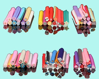 Polymer clay cane assorted mix of 6 baked polymer clay canes