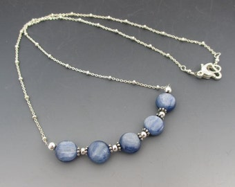 Denim Blue Kyanite Coins Sterling Silver Necklace