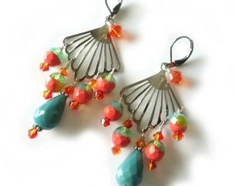 Turquoise Beaded Earrings, Silver Fan Shape, Fire Opal Swarovski Crystals, Tangerine Orange, Aqua, Summer Jewelry, Beaded Jewelry