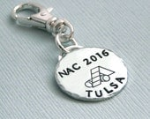 AKC NAC NOC Nrc 2016 National Championship Commemorative Charm - Hand Stamped Sterling Silver - Dog Agility - Canine Agility