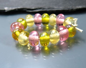 Handmade Lampwork Rondelle Bead Set by GlassBeadArt   ...  Yellow,Sand and Gold  ... SRA F12  11x6mm