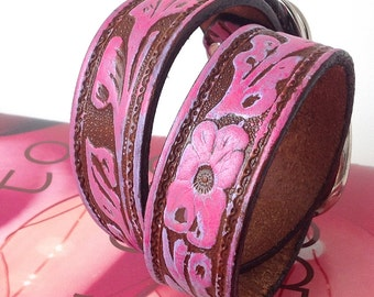 Pink and Purple Tooled Leather Dog Collar with Flowers, Size M/L, to fit a 16-19 Neck, Medium to Large Dog Collar, EcoFriendly, OOAK