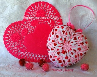 "Pink and Red  Hearts Finished Quilted Ornament ""Sweet Hearts"""