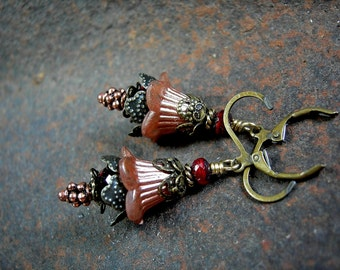 Flower Fairy Earrings, Copper & Ruby Red, Rich Fall Colors, Sparkly Flower Earirngs, Victorian Faery, Elegant Flower Drops, Elksong Jewelry