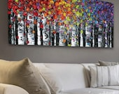 "abstract art print- birch tree aspen landscape large abstract wall art modern canvas print colorful art print SM to XLarge up to 72"" Susanna"