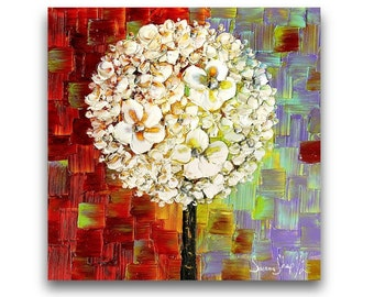 PRINT on Canvas White Blossoms Lollipop Tree Abstract Flowers Colorful Home Decor Wall Art  Modern Art Ready to hang ~Susanna