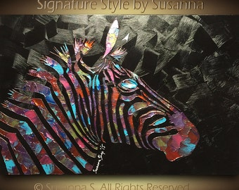 Original Large Zebra Abstract Painting Metallic Multicolored Black Texture Home Decor Wall Art Animal Palette Knife Oil Painting by Susanna
