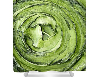 Designer Shower Curtain Art- abstract apple green vortex, modern contemporary interior design, bathroom home decor from Susanna's art