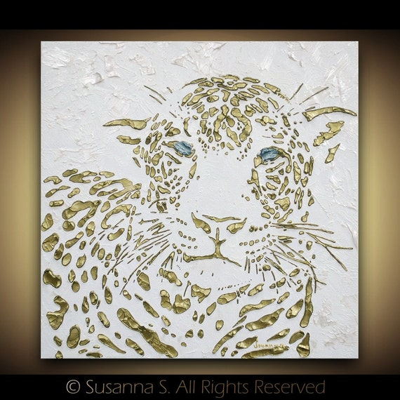 Leopard Original Painting Cat Animal Modern Canvas Art Palette Knife Thick Impasto Texture -Susanna