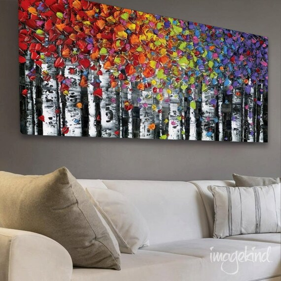 CANVAS PRINT Abstract Art Print birch tree aspen landscape large abstract wall art modern art giclee print Small to Huge and Extra Large