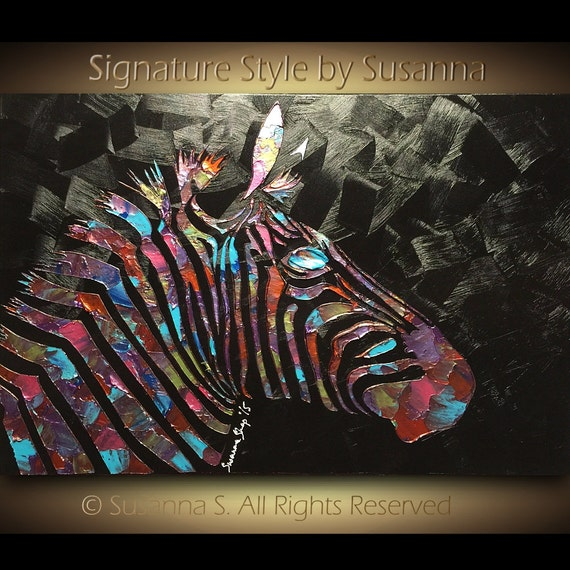 Original Zebra Painting Large Abstract Wildlife by ...