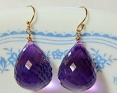 Reserved for Stella Koss - Purple Amethyst Checker Board Faceted Briolettes (63.90ct), and 14K Solid Yellow Gold Earwires