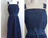 1970s denim jumper dress (s)