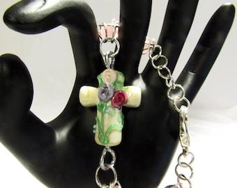 Cross Bracelet Caged Pink Beach Glass Rounds OOAK Handmade Beach Wedding Spiritual Jewelry