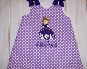 First Princess - Purple Lavender Polka Dot Sofia Applique Monogram Birthday Party A-line Dress Sophia - School - Vacation - toddler girl