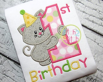 1st Birthday Kitty Applique One Piece Bodysuit - baby girl shirt - first birthday - birthday party pictures - girl kitty with party hat