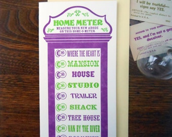 SALE 50% OFF letterpress customizable vintage arcade home is where the heart is meter greeting card purple with lime new home card
