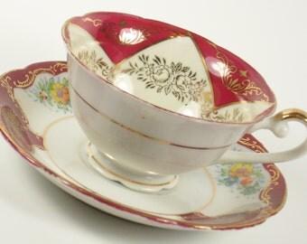 Vintage Porcelain Teacup Tea Cup Saucer Gold Flower Floral  Pink Green Footed Japan