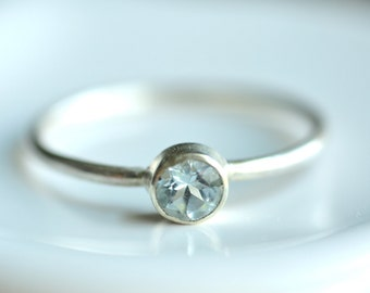 4mm tiny aquamarine ring - custom sized stacking ring - textured delicate band - sterling silver