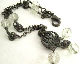 Misty Green Ice  ... Victorian Filigree Bracelet One of a Kind