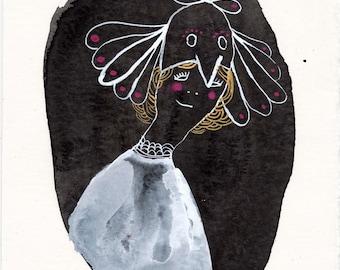 Bird Hat Portrait #1 / watercolour gouache original