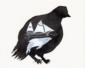 Sea Inside Resting Bird / watercolour gouache original