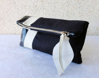 Leather Clutch in Italian Leather and Black European Linen